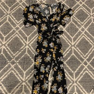 American Eagle black floral jumpsuit small
